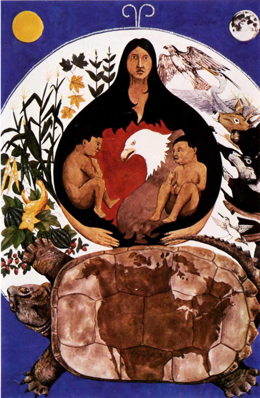 Creation Twins, une aquarelle de l'auteur, illustre le concept haudenosaunee de la création.