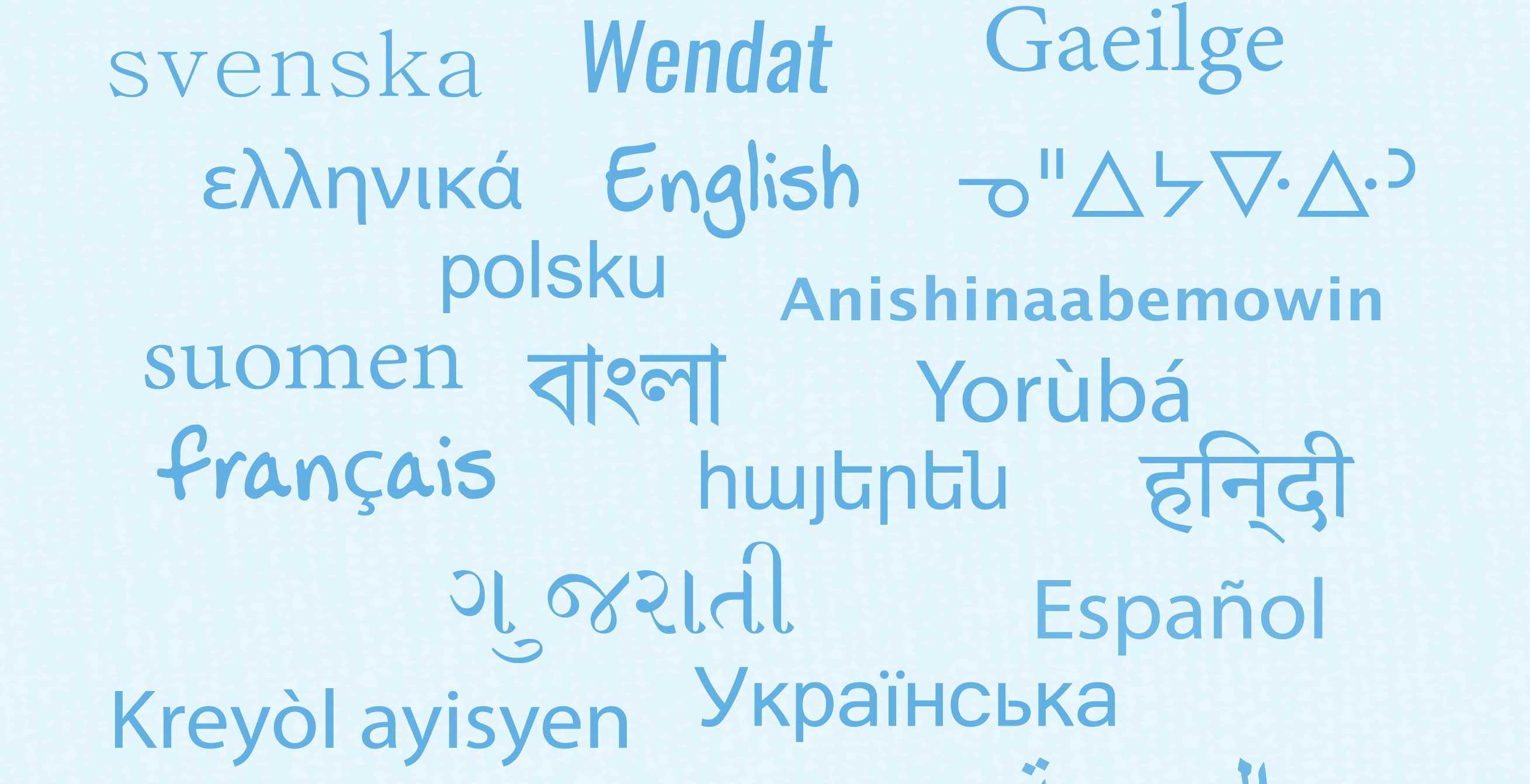 Nuage de mots de différentes langues