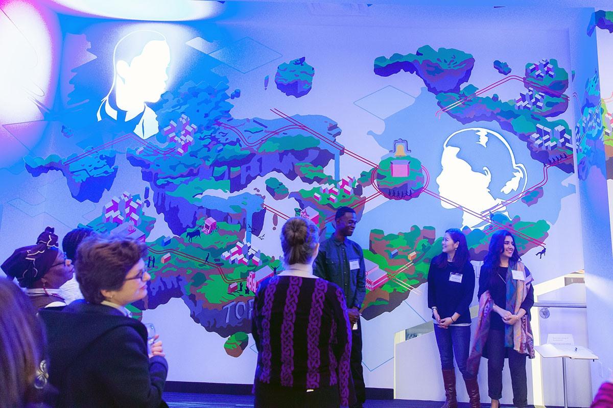 Murale Leap of Faith (Acte de foi) réalisée par l'équipe de l'école de design du  Collège George Brown au Lucie and Thornton Blackburn Conference Centre.