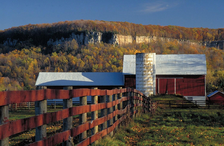 Site agricole près de l'escarpement du Niagara, non loin de Milton. (Photo : Tourisme Ontario)