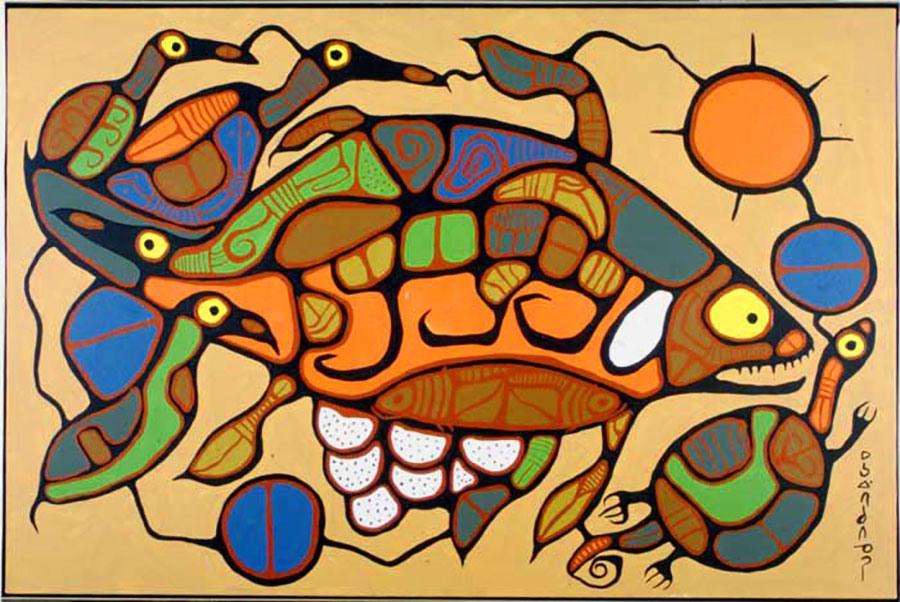 Life Regenerating, 1977, de Norval Morrisseau. Acrylique sur toile, 99,1 x 149,9 cm. Collection d'œuvres d'art du gouvernement de l'Ontario, Archives publiques de l'Ontario, 623855.