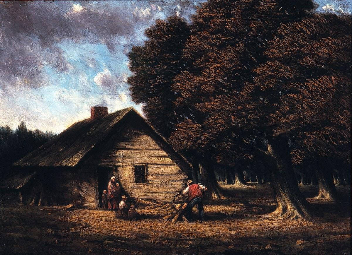 The Pioneer Cabin (La cabane de pionniers), tableau peint par Homer Watson, 1900. Reproduit avec l'aimable autorisation de la Homer Watson House & Gallery.